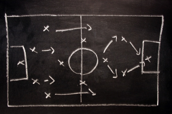 Soccer tactics on a blackboard